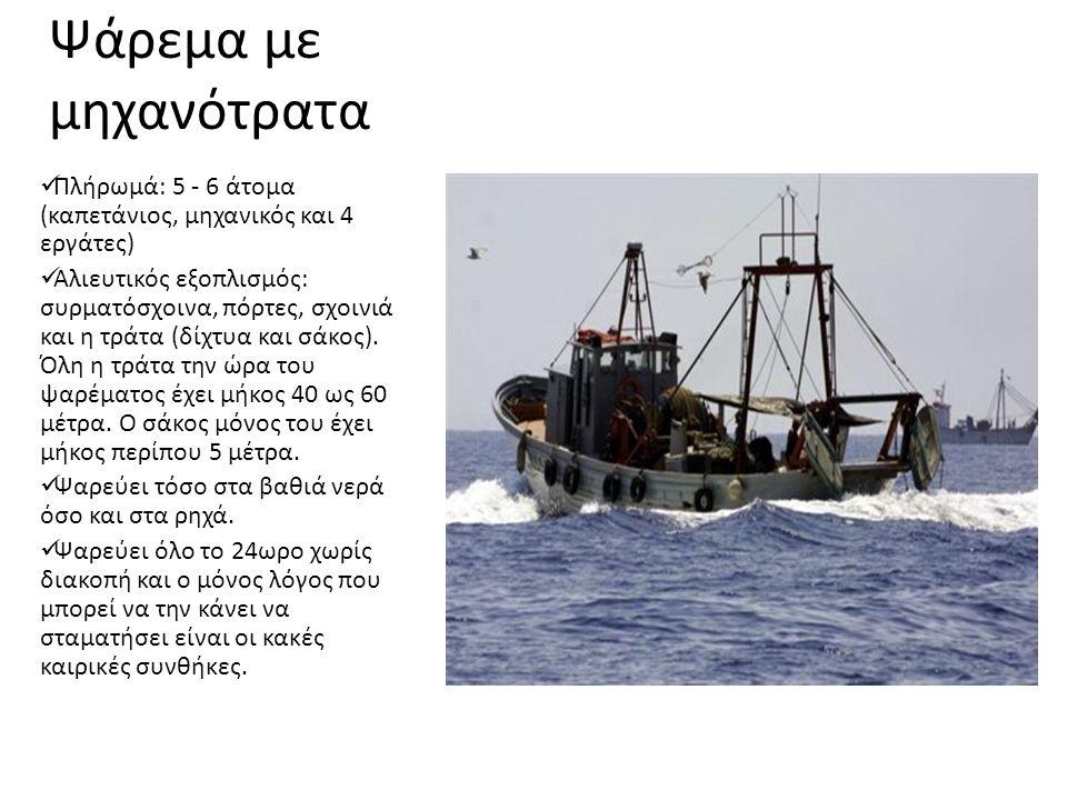 Ψάρεμα με μηχανότρατα Πλήρωμά: 5 - 6 άτομα (καπετάνιος, μηχανικός και 4 εργάτες) Αλιευτικός εξοπλισμός: συρματόσχοινα, πόρτες, σχοινιά και η τράτα (δίχτυα και σάκος).