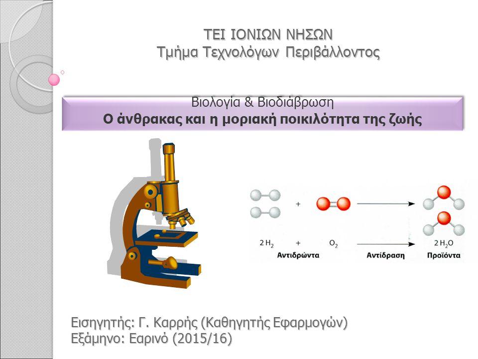 ΤΕΙ ΙΟΝΙΩΝ ΝΗΣΩΝ Τμήμα Τεχνολόγων Περιβάλλοντος Βιολογία & Βιοδιάβρωση O άνθρακας και η μοριακή ποικιλότητα της ζωής Βιολογία & Βιοδιάβρωση O άνθρακας και η μοριακή ποικιλότητα της ζωής Εισηγητής: Γ.