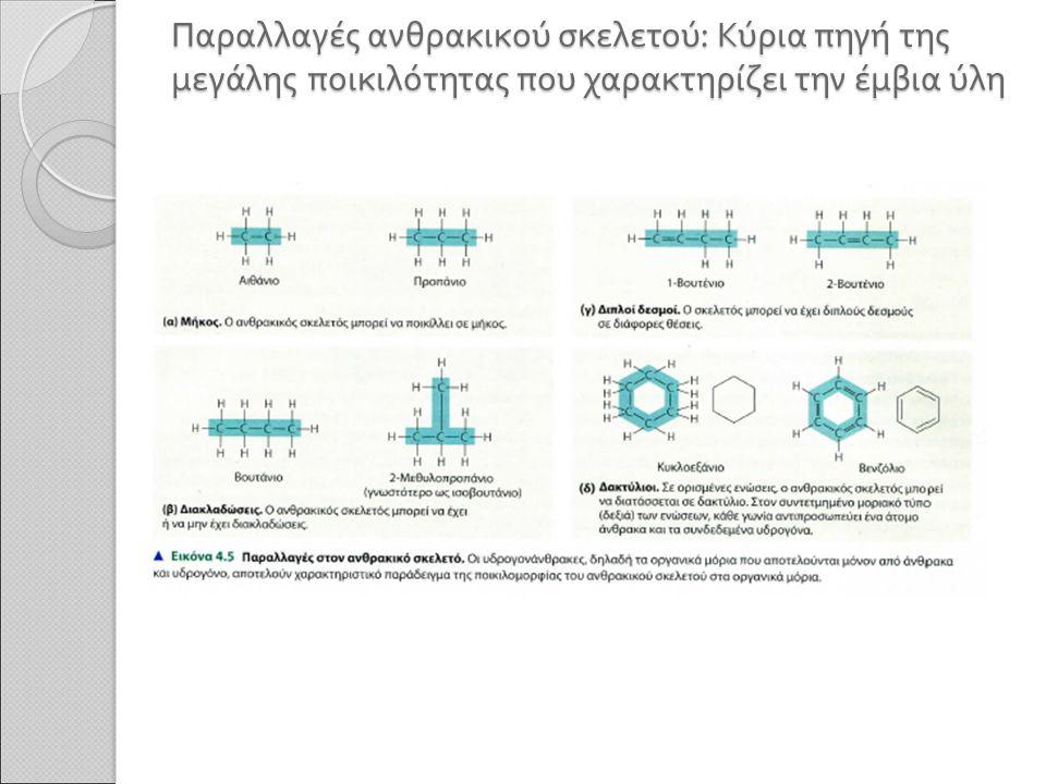 Παραλλαγές ανθρακικού σκελετού : Κύρια πηγή της μεγάλης ποικιλότητας που χαρακτηρίζει την έμβια ύλη