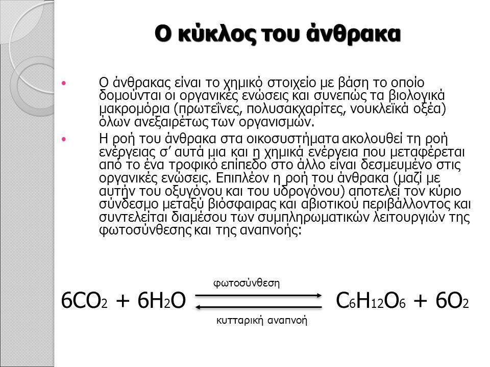 Ο κύκλος του άνθρακα Ο άνθρακας είναι το χημικό στοιχείο με βάση το οποίο δομούνται οι οργανικές ενώσεις και συνεπώς τα βιολογικά μακρομόρια (πρωτεΐνες, πολυσακχαρίτες, νουκλεϊκά οξέα) όλων ανεξαιρέτως των οργανισμών.