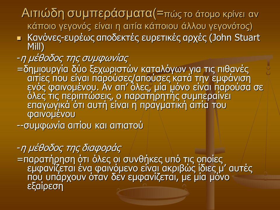 Αιτιώδη συμπεράσματα(= πώς το άτομο κρίνει αν κάποιο γεγονός είναι η αιτία κάποιου άλλου γεγονότος) Κανόνες-ευρέως αποδεκτές ευρετικές αρχές (John Stuart Mill) Κανόνες-ευρέως αποδεκτές ευρετικές αρχές (John Stuart Mill) -η μέθοδος της συμφωνίας =δημιουργία δύο ξεχωριστών καταλόγων για τις πιθανές αιτίες που είναι παρούσες/απούσες κατά την εμφάνιση ενός φαινομένου.