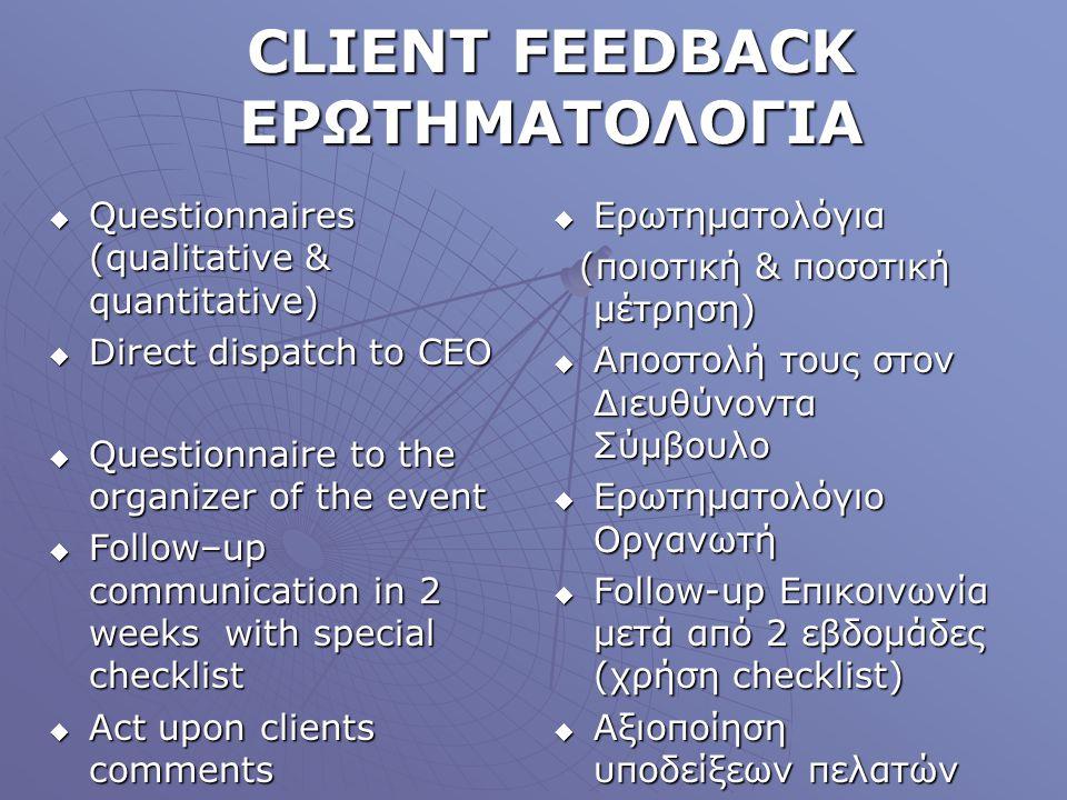 CLIENT FEEDBACK ΕΡΩΤΗΜΑΤΟΛΟΓΙΑ Questionnaires (qualitative & quantitative) Questionnaires (qualitative & quantitative) Direct dispatch to CEO Direct d