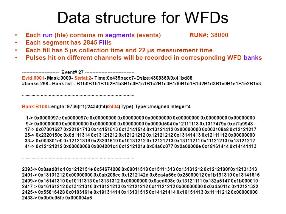 Data structure for WFDs Bank:B1b0 Length: 9736(I*1)/2434(I*4)/2434(Type) Type:Unsigned Integer*4 1-> 0x0000097e 0x0000097e 0x00000000 0x00000000 0x00000000 0x00000000 0x00000000 0x00000000 9-> 0x00000000 0x00000000 0x00000000 0x00000000 0x0000d504 0x12111113 0x1317479a 0xe7fa9948 17-> 0x07001627 0x22181713 0x14151513 0x13141514 0x13121412 0x00000000 0x003108a8 0x12121217 25-> 0x2320150c 0x0d111314 0x13121212 0x12121212 0x12121212 0x13141413 0x12111112 0x00000000 33-> 0x003801e0 0x12121319 0x23201610 0x10131212 0x12121213 0x13111211 0x11121213 0x13121212 41-> 0x12121212 0x00000000 0x004201c4 0x1212121a 0x54a0c077 0x2a00000e 0x18161414 0x14141413 ····················································································· 2393-> 0x0aad01c4 0x1212151e 0x54674208 0x00011518 0x15111313 0x13131212 0x1212100f 0x12131313 2401-> 0x13131212 0x00000000 0x0ab208ec 0x1212142d 0x6ca4a66c 0x25000012 0x1b191310 0x13141616 2409-> 0x15141310 0x10111313 0x13131312 0x00000000 0x0acd008c 0x13121111 0x132a5147 0x1b000010 2417-> 0x16161212 0x13121310 0x10121213 0x12121212 0x11121212 0x00000000 0x0ada011c 0x12121322 2425-> 0x55816428 0x0103161e 0x19131414 0x13131515 0x14121414 0x16151413 0x11111212 0x00000000 2433-> 0x0b0c05fc 0x000004a6 RequestGotBank statusBlock 1Block 2……Block mTail 8 ADC + 1 Zero dword + 1 Timestamp 2430 Bank size = 2434 2430 header tail FillTime