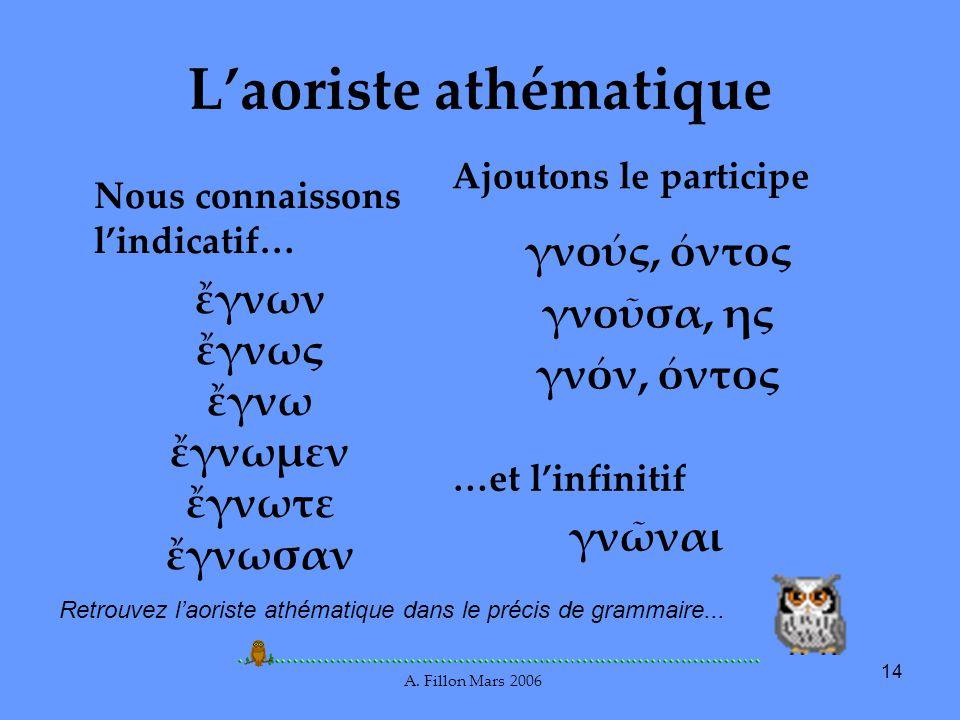 A. Fillon Mars 2006 14 Laoriste athématique Nous connaissons lindicatif… γνων γνως γνω γνωμεν γνωτε γνωσαν Ajoutons le participe γνος, ντος γνοσα, ης