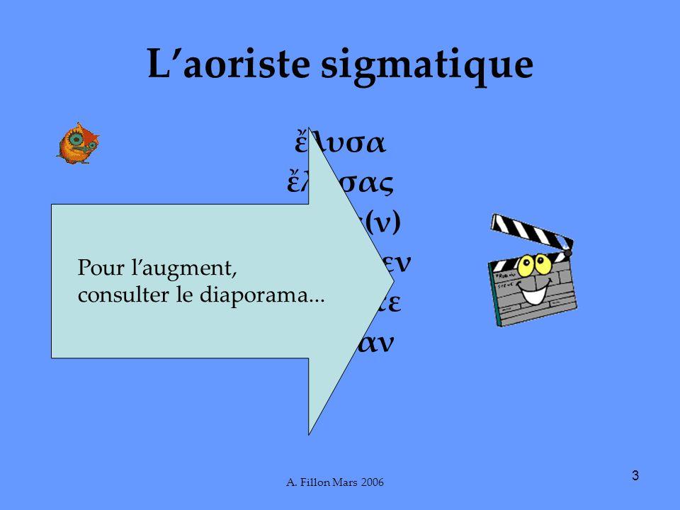 A. Fillon Mars 2006 3 Laoriste sigmatique λυσα λυσας λυσε(ν) λσαμεν λσατε λυσαν Pour laugment, consulter le diaporama...