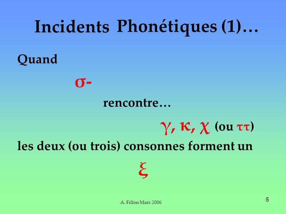 A. Fillon Mars 2006 5 Incidents Quand σ- rencontre… γ, κ, χ (ou ττ) les deux (ou trois) consonnes forment un ξ Phonétiques (1)…