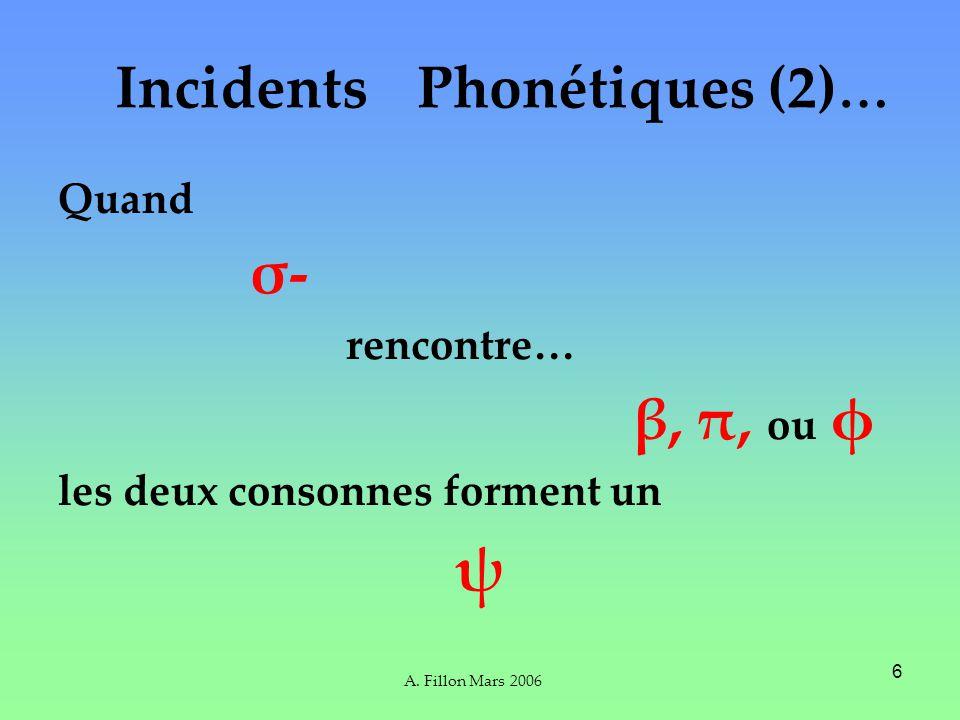 A. Fillon Mars 2006 6 Quand σ- rencontre… β, π, ou φ les deux consonnes forment un ψ Incidents Phonétiques (2) …