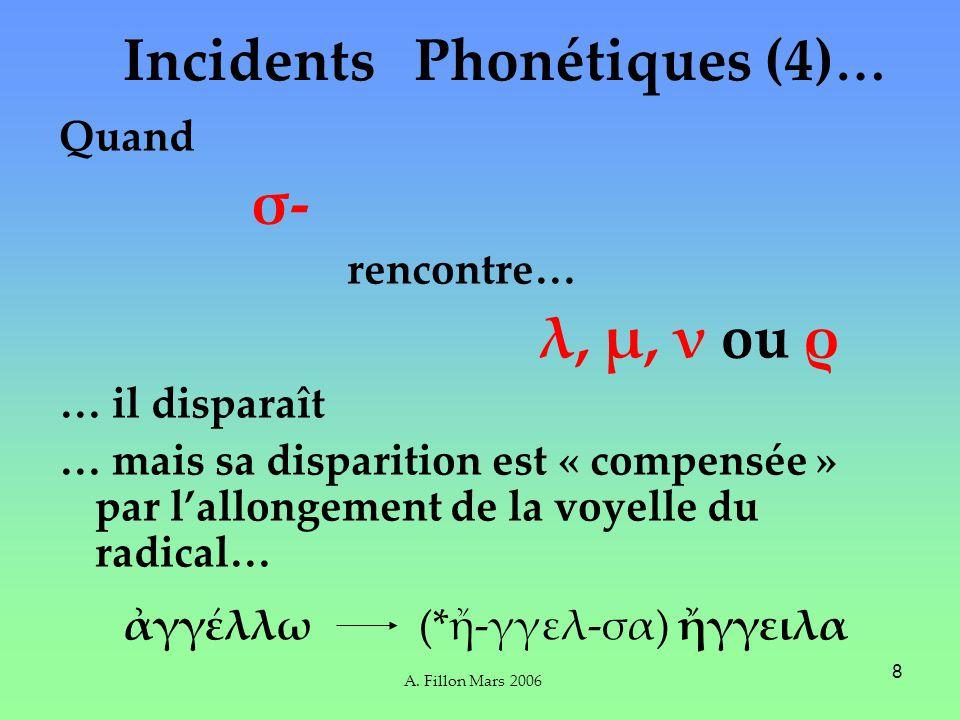 A. Fillon Mars 2006 8 Phonétiques (4) … Quand σ- rencontre… λ, μ, ν ou ρ … il disparaît … mais sa disparition est « compensée » par lallongement de la