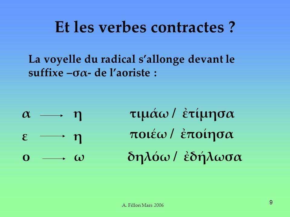 A. Fillon Mars 2006 9 Et les verbes contractes .