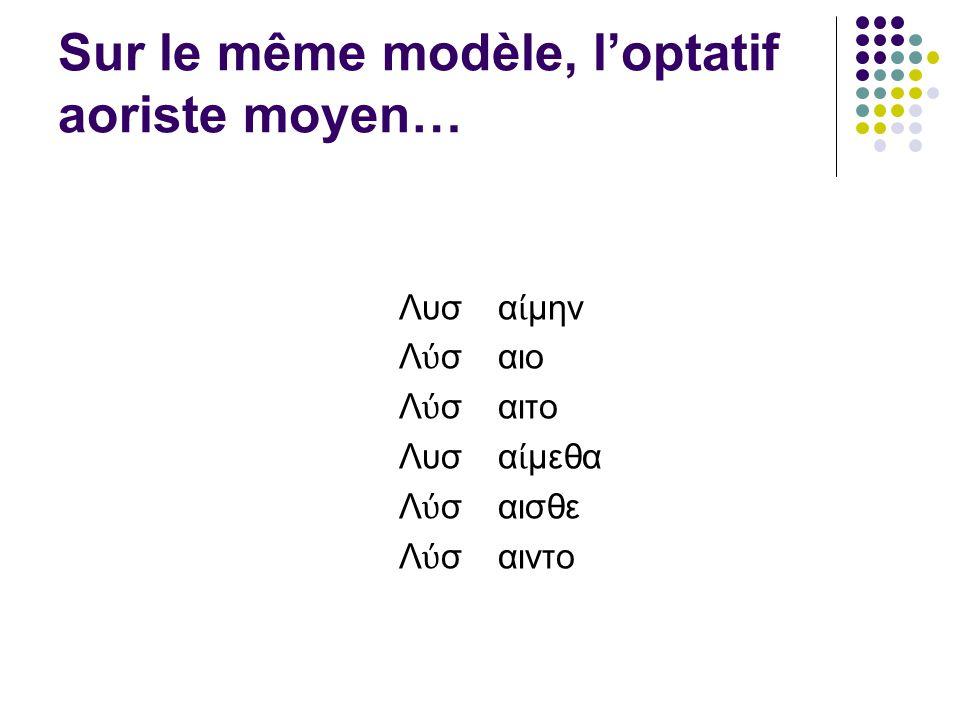 Sur le même modèle, loptatif aoriste moyen… Λυσ Λ σ Λυσ Λ σ α μην αιο αιτο α μεθα αισθε αιντο