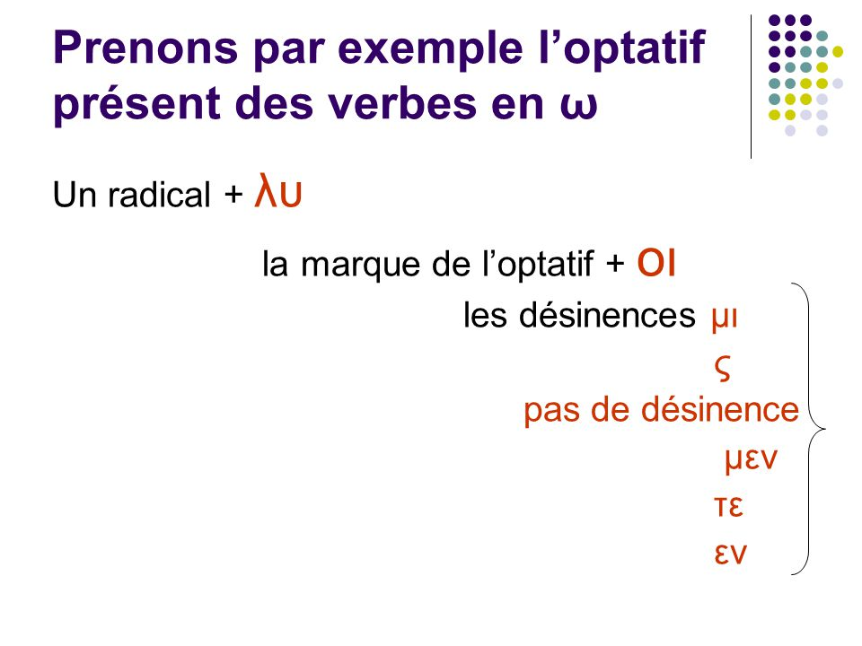 Prenons par exemple loptatif présent des verbes en ω Un radical + λυ la marque de loptatif + οι les désinences μι ς pas de désinence μεν τε εν