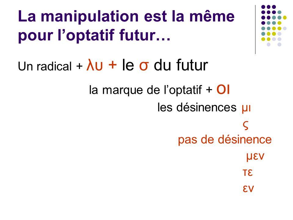 La manipulation est la même pour loptatif futur… Un radical + λυ + le σ du futur la marque de loptatif + οι les désinences μι ς pas de désinence μεν τε εν