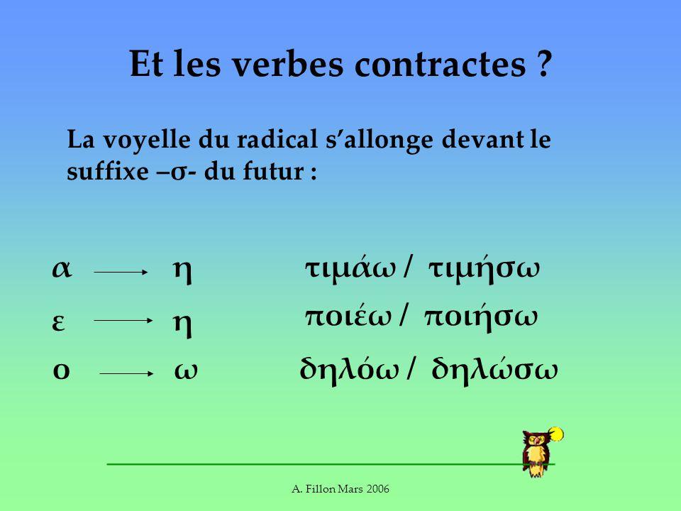 A. Fillon Mars 2006 Et les verbes contractes ? La voyelle du radical sallonge devant le suffixe –σ- du futur : αη ποιω / ποισω τιμω / τιμσω εη ο ωδηλω