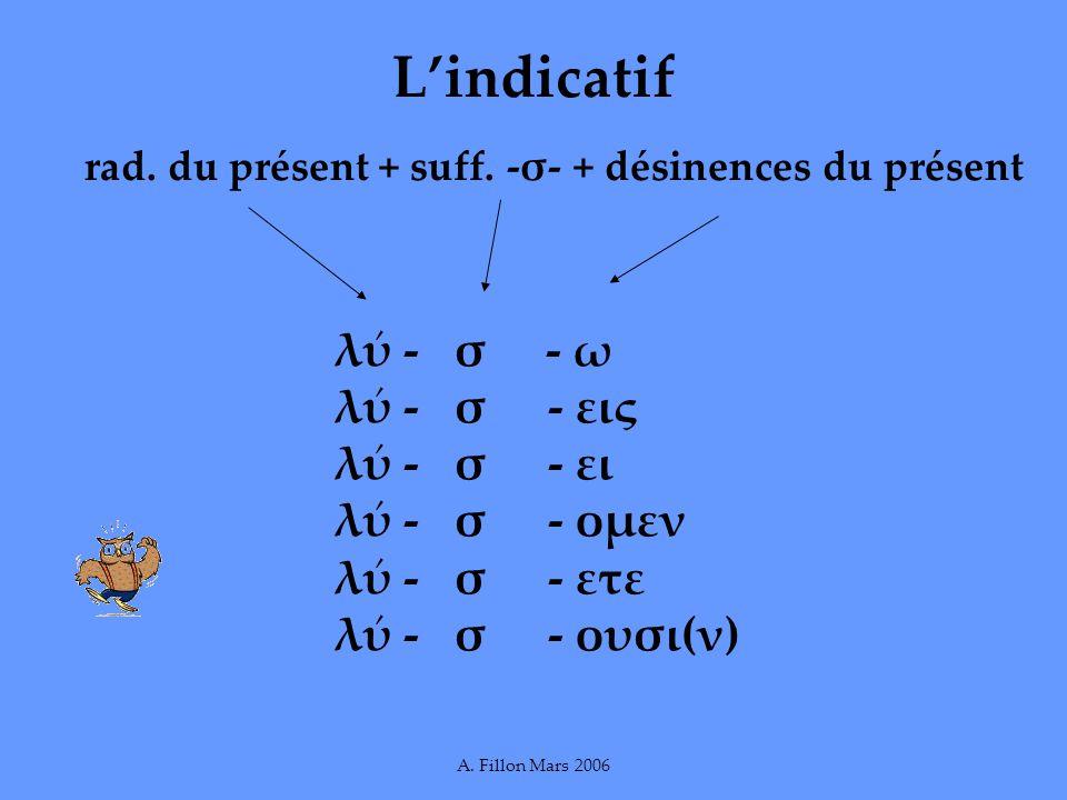 Lindicatif rad. du présent + suff. -σ- + désinences du présent λ - σ - ω λ - σ- εις λ - σ - ει λ - σ - ομεν λ - σ - ετε λ - σ - ουσι(ν)