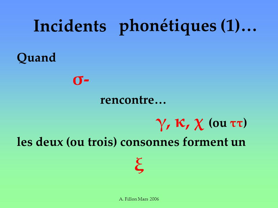 A. Fillon Mars 2006 Incidents Quand σ- rencontre… γ, κ, χ (ou ττ) les deux (ou trois) consonnes forment un ξ phonétiques (1)…