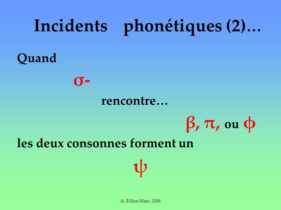 A. Fillon Mars 2006 Quand σ- rencontre… β, π, ou φ les deux consonnes forment un ψ Incidents phonétiques (2) …