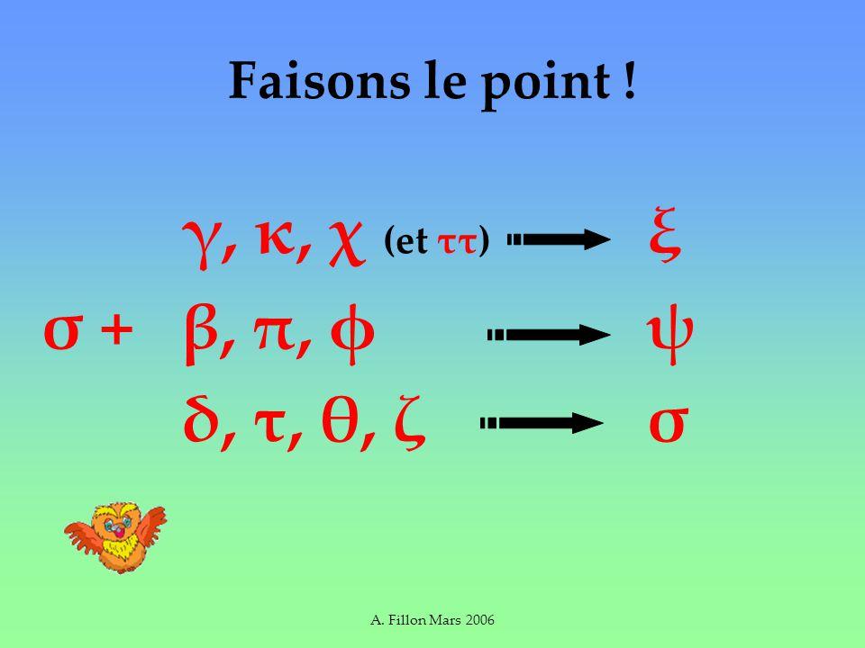 A. Fillon Mars 2006 Faisons le point ! γ, κ, χ (et ττ) ξ σ + β, π, φ ψ δ, τ, θ, ζ σ