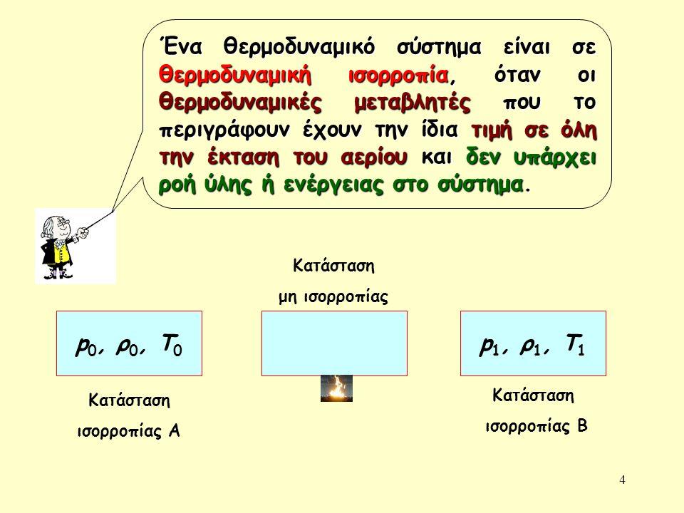 4 Ένα θερμοδυναμικό σύστημα είναι σε θερμοδυναμική ισορροπία, όταν οι θερμοδυναμικές μεταβλητές που το περιγράφουν έχουν την ίδια τιμή σε όλη την έκταση του αερίου και δεν υπάρχει ροή ύλης ή ενέργειας στο σύστημα.