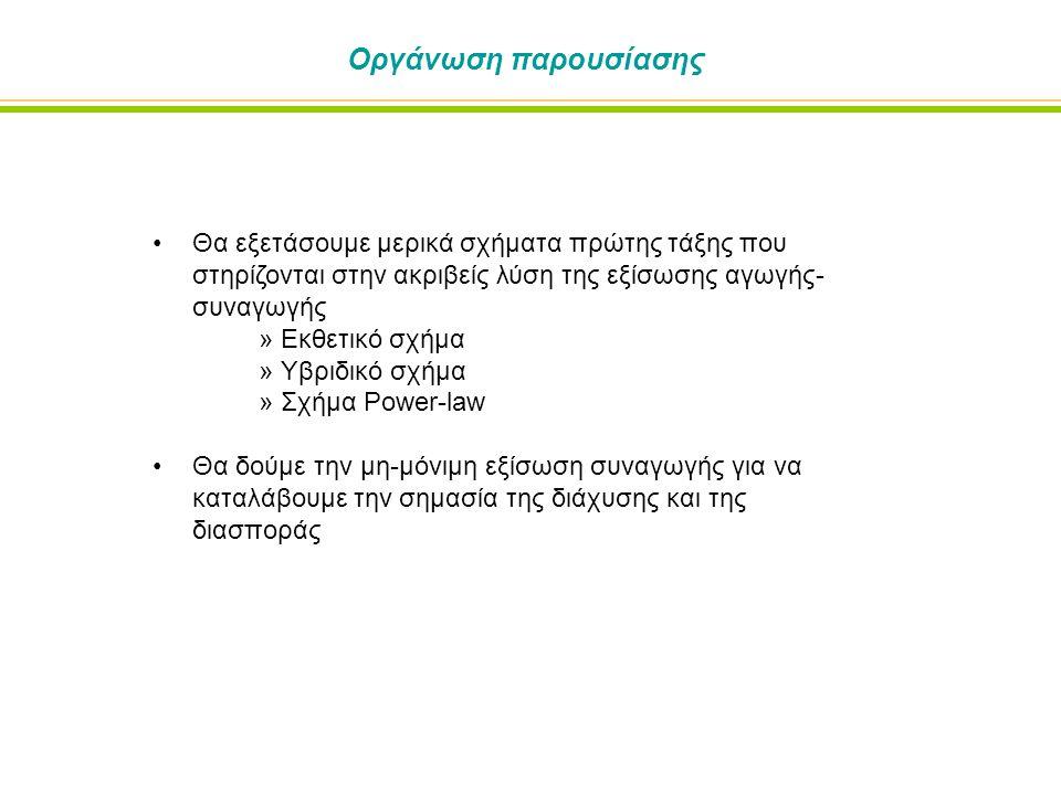 Πρώτης τάξης σχήματα βασισμένα σε ακριβείς λύσεις Έστω η μονοδιάστατη εξίσωση αγωγής-συναγωγής: