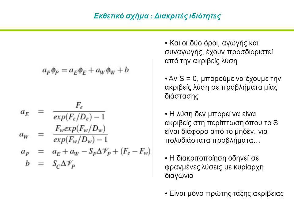 Εκθετικό σχήμα : Διακριτές ιδιότητες Και οι δύο όροι, αγωγής και συναγωγής, έχουν προσδιοριστεί από την ακριβείς λύση Αν S = 0, μπορούμε να έχουμε την ακριβείς λύση σε προβλήματα μίας διάστασης Η λύση δεν μπορεί να είναι ακριβείς στη περίπτωση όπου το S είναι διάφορο από το μηδέν, για πολυδιάστατα προβλήματα… Η διακριτοποίηση οδηγεί σε φραγμένες λύσεις με κυρίαρχη διαγώνιο Είναι μόνο πρώτης τάξης ακρίβειας