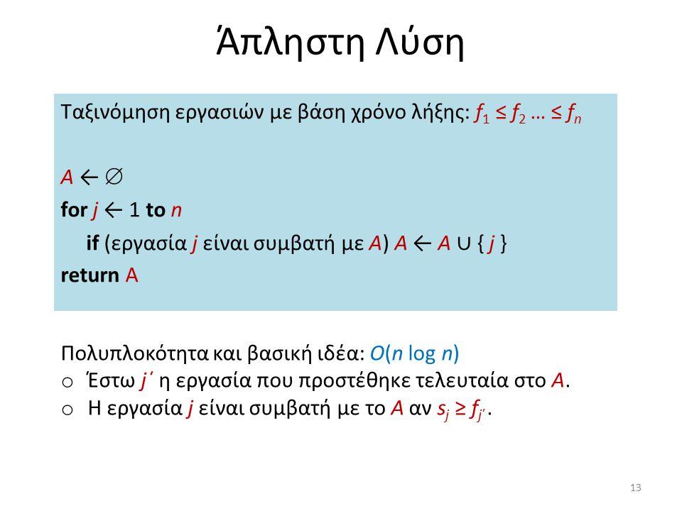 Άπληστη Λύση Ταξινόμηση εργασιών με βάση χρόνο λήξης: f 1 ≤ f 2 … ≤ f n Α ←  for j ← 1 to n if (εργασία j είναι συμβατή με A) A ← A ∪ { j } return A
