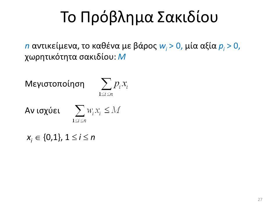 Το Πρόβλημα Σακιδίου n αντικείμενα, το καθένα με βάρος w i > 0, μία αξία p i > 0, χωρητικότητα σακιδίου: M Μεγιστοποίηση Αν ισχύει x i  {0,1}, 1  i
