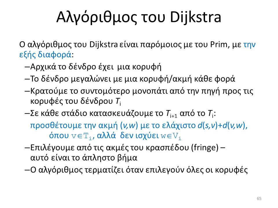 Ο αλγόριθμος του Dijkstra είναι παρόμοιος με του Prim, με την εξής διαφορά: – Αρχικά το δένδρο έχει μια κορυφή – Το δένδρο μεγαλώνει με μια κορυφή/ακμ
