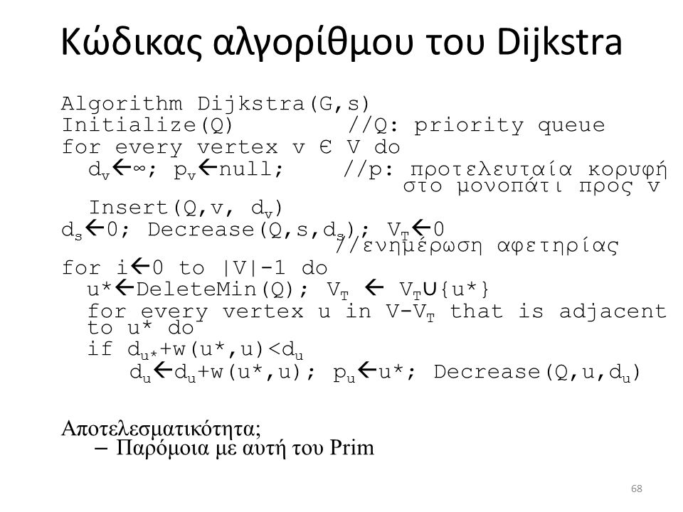 Κώδικας αλγορίθμου του Dijkstra Algorithm Dijkstra(G,s) Initialize(Q) //Q: priority queue for every vertex v Є V do d v  ∞; p v  null; //p: προτελευταία κορυφή στο μονοπάτι προς v Insert(Q,v, d v ) d s  0; Decrease(Q,s,d s ); V T  0 //ενημέρωση αφετηρίας for i  0 to |V|-1 do u*  DeleteMin(Q); V T  V T ∪ {u*} for every vertex u in V-V T that is adjacent to u* do if d u* +w(u*,u)<d u d u  d u +w(u*,u); p u  u*; Decrease(Q,u,d u ) Αποτελεσματικότητα; – Παρόμοια με αυτή του Prim 68