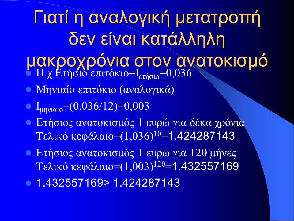 Γιατί η αναλογική μετατροπή δεν είναι κατάλληλη μακροχρόνια στον ανατοκισμό Π.χ Ετήσιο επιτόκιο=Ι ετήσιο =0,036 Μηνιαίο επιτόκιο (αναλογικά) Ι μηνιαίο =(0,036/12)=0,003 Ετήσιος ανατοκισμός 1 ευρώ για δέκα χρόνια Τελικό κεφάλαιο=(1,036) 10 = 1.424287143 Ετήσιος ανατοκισμός 1 ευρώ για 120 μήνες Τελικό κεφάλαιο=(1,003) 120 = 1.432557169 1.432557169> 1.424287143
