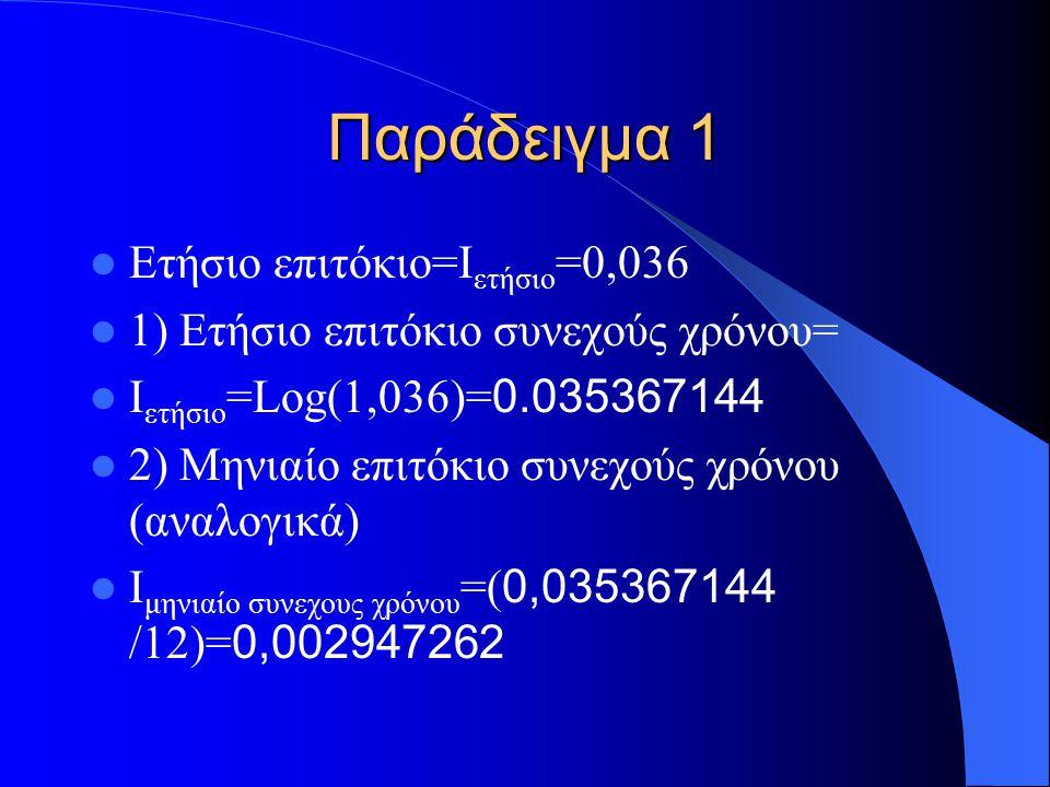 Παράδειγμα 1 Ετήσιο επιτόκιο=Ι ετήσιο =0,036 1) Ετήσιο επιτόκιο συνεχούς χρόνου= Ι ετήσιο =Log(1,036)= 0.035367144 2) Μηνιαίο επιτόκιο συνεχούς χρόνου (αναλογικά) Ι μηνιαίο συνεχους χρόνου =( 0,035367144 /12)= 0,002947262