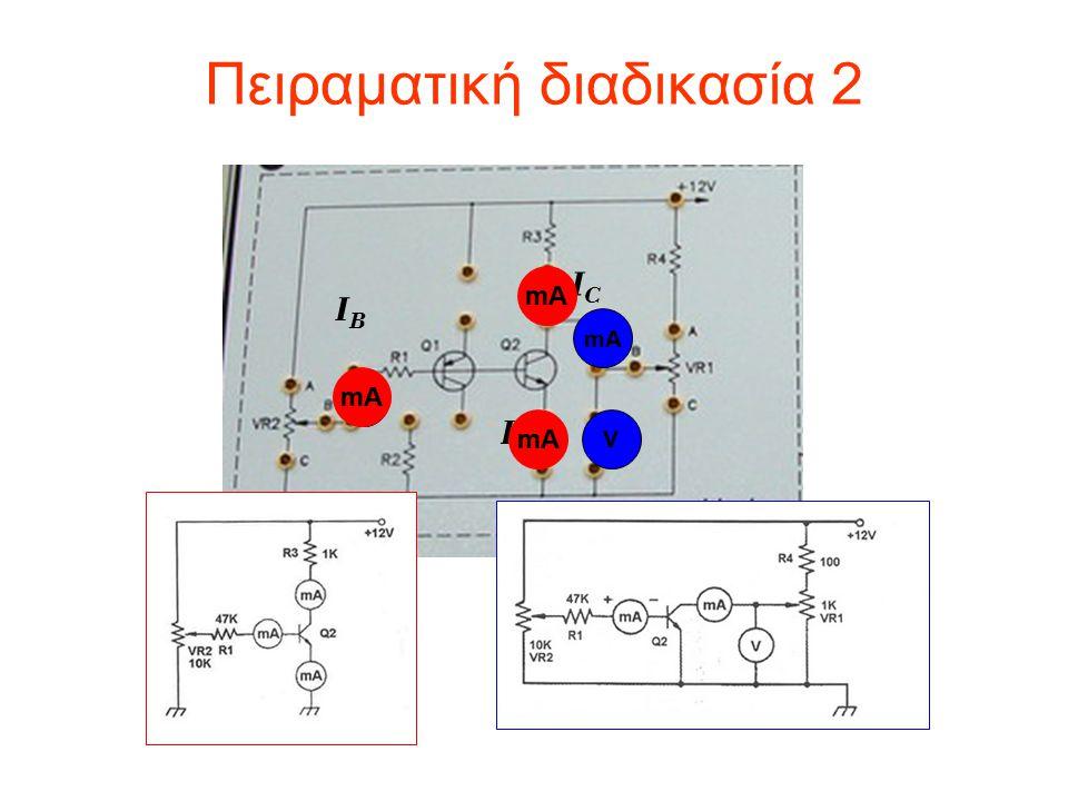 Πειραματική διαδικασία 2 IBIB ICIC mA V IEIE