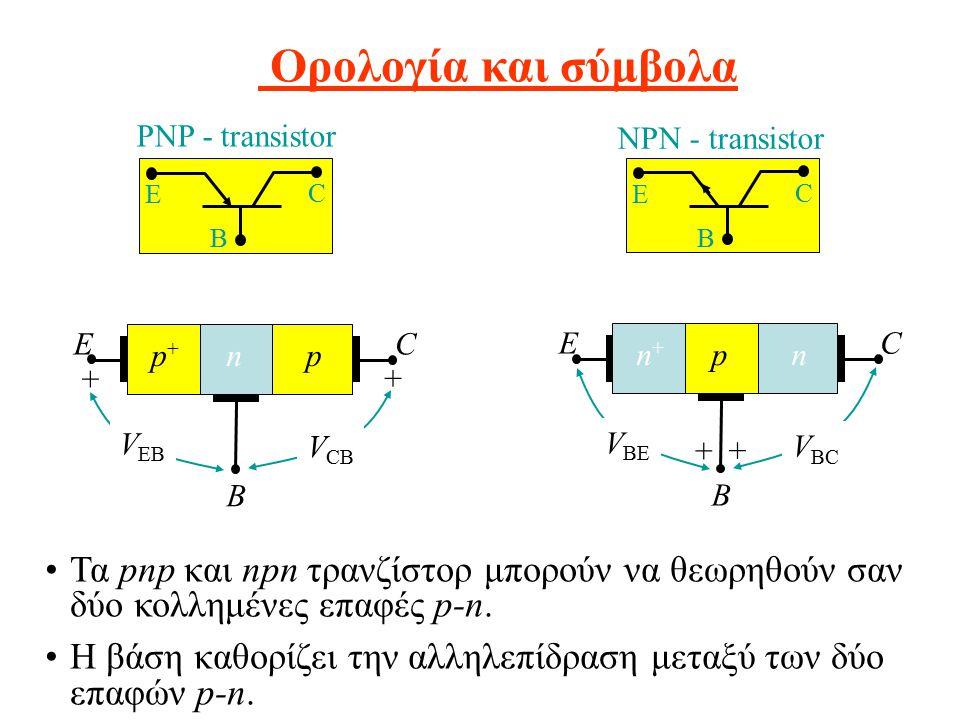 Ορολογία και σύμβολα Τα pnp και npn τρανζίστορ μπορούν να θεωρηθούν σαν δύο κολλημένες επαφές p-n. Η βάση καθορίζει την αλληλεπίδραση μεταξύ των δύο ε