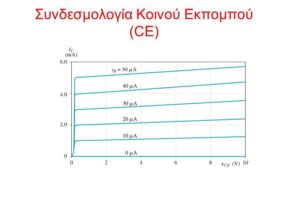 Συνδεσμολογία CE – παράμετρος α  = Ενίσχυση ρεύματος κοινής Βάσης (0.9-0.999; typical 0.99)