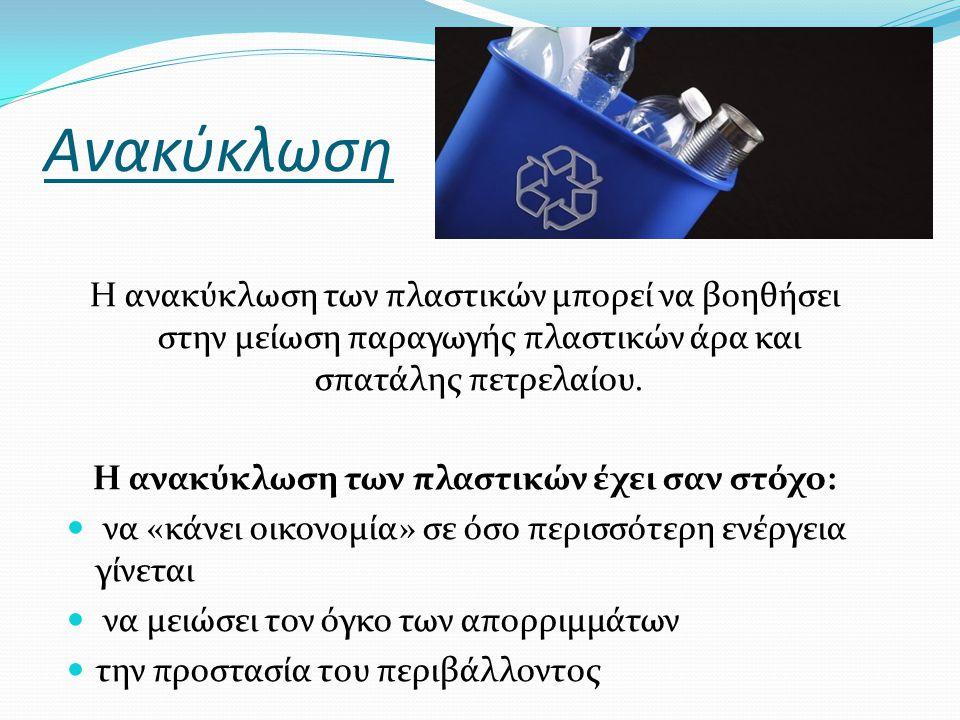Ανακύκλωση Η ανακύκλωση των πλαστικών μπορεί να βοηθήσει στην μείωση παραγωγής πλαστικών άρα και σπατάλης πετρελαίου. Η ανακύκλωση των πλαστικών έχει