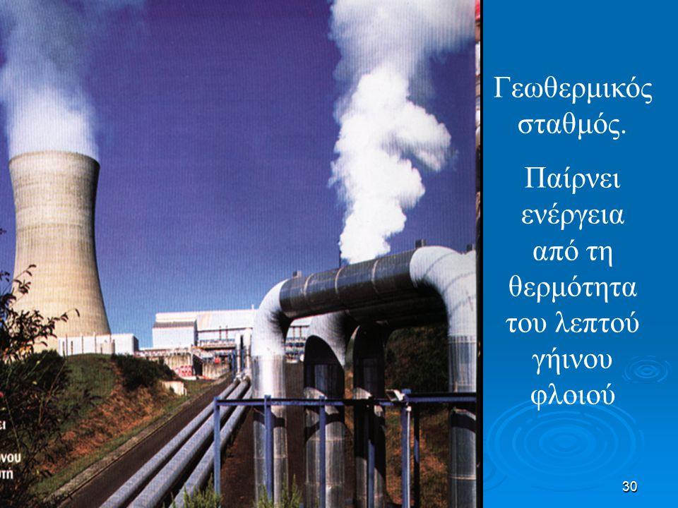 30 Γεωθερμικός σταθμός. Παίρνει ενέργεια από τη θερμότητα του λεπτού γήινου φλοιού