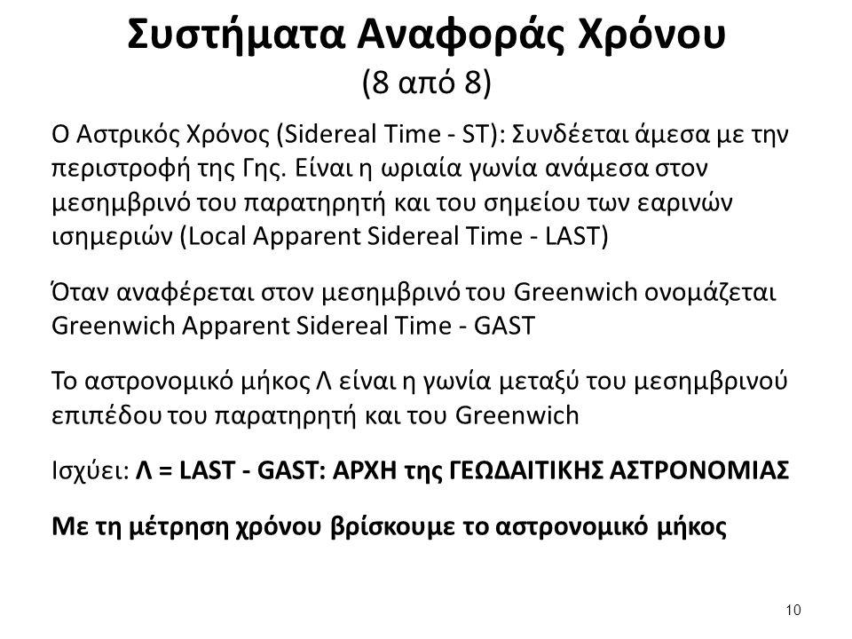 Συστήματα Αναφοράς Χρόνου (8 από 8) Ο Αστρικός Χρόνος (Sidereal Time - ST): Συνδέεται άμεσα με την περιστροφή της Γης.