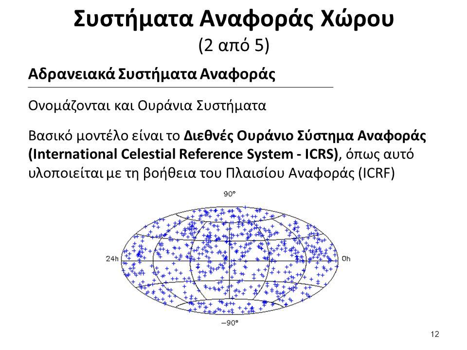 Συστήματα Αναφοράς Χώρου (2 από 5) Αδρανειακά Συστήματα Αναφοράς Ονομάζονται και Ουράνια Συστήματα Βασικό μοντέλο είναι το Διεθνές Ουράνιο Σύστημα Αναφοράς (International Celestial Reference System - ICRS), όπως αυτό υλοποιείται με τη βοήθεια του Πλαισίου Αναφοράς (ICRF) 12