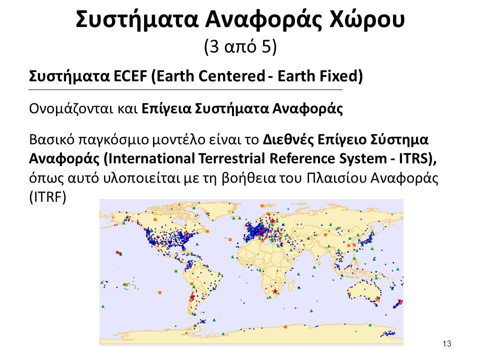 Συστήματα Αναφοράς Χώρου (3 από 5) Συστήματα ECEF (Earth Centered - Earth Fixed) Ονομάζονται και Επίγεια Συστήματα Αναφοράς Βασικό παγκόσμιο μοντέλο είναι το Διεθνές Επίγειο Σύστημα Αναφοράς (International Terrestrial Reference System - ITRS), όπως αυτό υλοποιείται με τη βοήθεια του Πλαισίου Αναφοράς (ITRF) 13