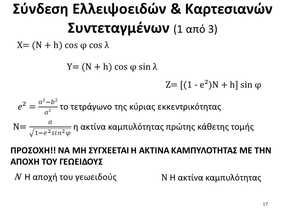 Σύνδεση Ελλειψοειδών & Καρτεσιανών Συντεταγμένων (1 από 3) X= (N + h) cos φ cos λ Y= (N + h) cos φ sin λ Z= [(1 - e²)N + h] sin φ ΠΡΟΣΟΧΗ!.