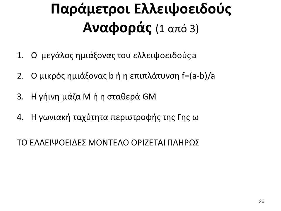 Παράμετροι Ελλειψοειδούς Αναφοράς (1 από 3) 1.Ο μεγάλος ημιάξονας του ελλειψοειδούς a 2.Ο μικρός ημιάξονας b ή η επιπλάτυνση f=(a-b)/a 3.Η γήινη μάζα M ή η σταθερά GM 4.Η γωνιακή ταχύτητα περιστροφής της Γης ω ΤΟ ΕΛΛΕΙΨΟΕΙΔΕΣ ΜΟΝΤΕΛΟ ΟΡΙΖΕΤΑΙ ΠΛΗΡΩΣ 26