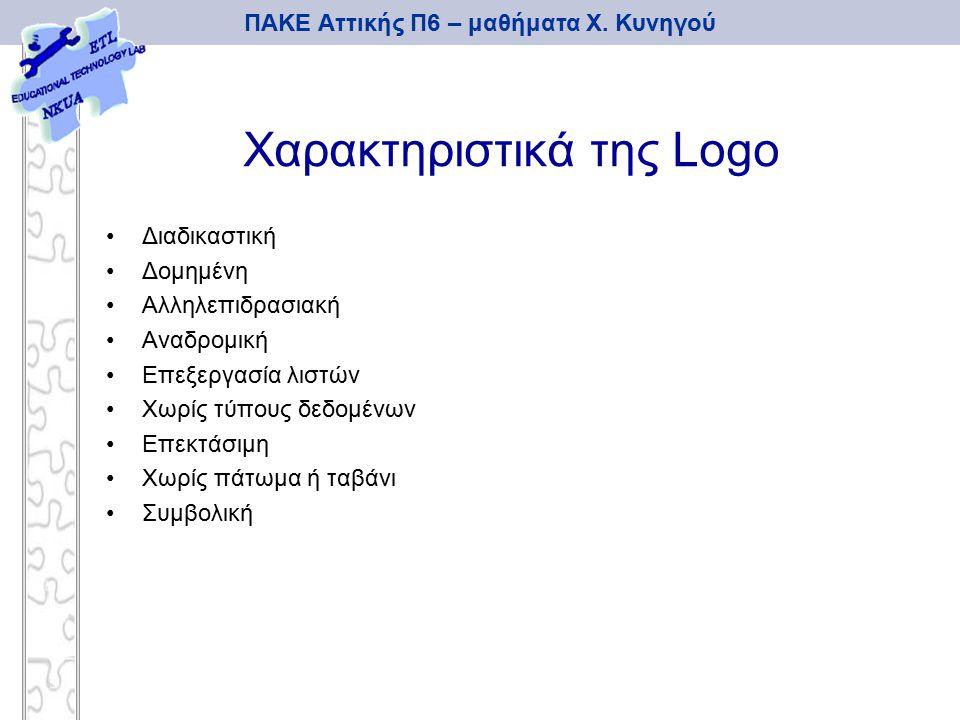 ΠΑΚΕ Αττικής Π6 – μαθήματα Χ. Κυνηγού Χαρακτηριστικά της Logo Διαδικαστική Δομημένη Αλληλεπιδρασιακή Αναδρομική Επεξεργασία λιστών Χωρίς τύπους δεδομέ
