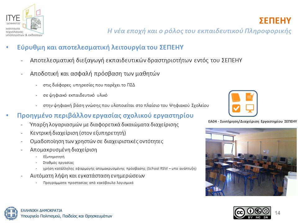 ΣΕΠΕΗΥ Η νέα εποχή και ο ρόλος του εκπαιδευτικού Πληροφορικής Εύρυθμη και αποτελεσματική λειτουργία του ΣΕΠΕΗΥ -Αποτελεσματική διεξαγωγή εκπαιδευτικών δραστηριοτήτων εντός του ΣΕΠΕΗΥ -Αποδοτική και ασφαλή πρόσβαση των μαθητών -στις διάφορες υπηρεσίες που παρέχει το ΠΣΔ -σε ψηφιακό εκπαιδευτικό υλικό -στην ψηφιακή βάση γνώσης που υλοποιείται στο πλαίσιο του Ψηφιακού Σχολείου Προηγμένο περιβάλλον εργασίας σχολικού εργαστηρίου -Ύπαρξη λογαριασμών με διαφορετικά δικαιώματα διαχείρισης -Κεντρική διαχείριση (στον εξυπηρετητή) -Ομαδοποίηση των χρηστών σε διαχειριστικές οντότητες -Απομακρυσμένη διαχείριση -Εξυπηρετητή -Σταθμός εργασίας -χρήση κατάλληλης εφαρμογής απομακρυσμένης πρόσβασης (School RSM – υπο ανάπτυξη) -Αυτόματη λήψη και εγκατάσταση ενημερώσεων -Προγράμματα προστασίας από κακόβουλο λογισμικό 14 ΕΑ04 - Συντήρηση/Διαχείριση Εργαστηρίου ΣΕΠΕΗΥ