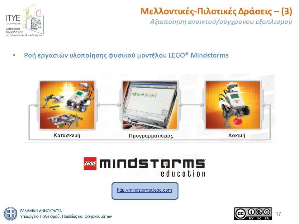 Μελλοντικές-Πιλοτικές Δράσεις – (3) Αξιοποίηση ανοικτού/σύγχρονου εξοπλισμού Ροή εργασιών υλοποίησης φυσικού μοντέλου LEGO® Mindstorms 17 Κατασκευή Προγραμματισμός Δοκιμή http://mindstorms.lego.com