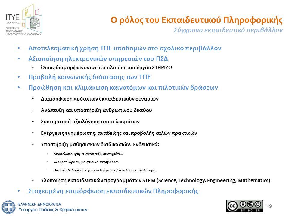 Ο ρόλος του Εκπαιδευτικού Πληροφορικής Σύγχρονο εκπαιδευτικό περιβάλλον Αποτελεσματική χρήση ΤΠΕ υποδομών στο σχολικό περιβάλλον Αξιοποίηση ηλεκτρονικών υπηρεσιών του ΠΣΔ Όπως διαμορφώνονται στα πλαίσια του έργου ΣΤΗΡΙΖΩ Προβολή κοινωνικής διάστασης των ΤΠΕ Προώθηση και κλιμάκωση καινοτόμων και πιλοτικών δράσεων Διαμόρφωση πρότυπων εκπαιδευτικών σεναρίων Ανάπτυξη και υποστήριξη ανθρώπινου δικτύου Συστηματική αξιολόγηση αποτελεσμάτων Ενέργειες ενημέρωσης, ανάδειξης και προβολής καλών πρακτικών Υποστήριξη μαθησιακών διαδικασιών.
