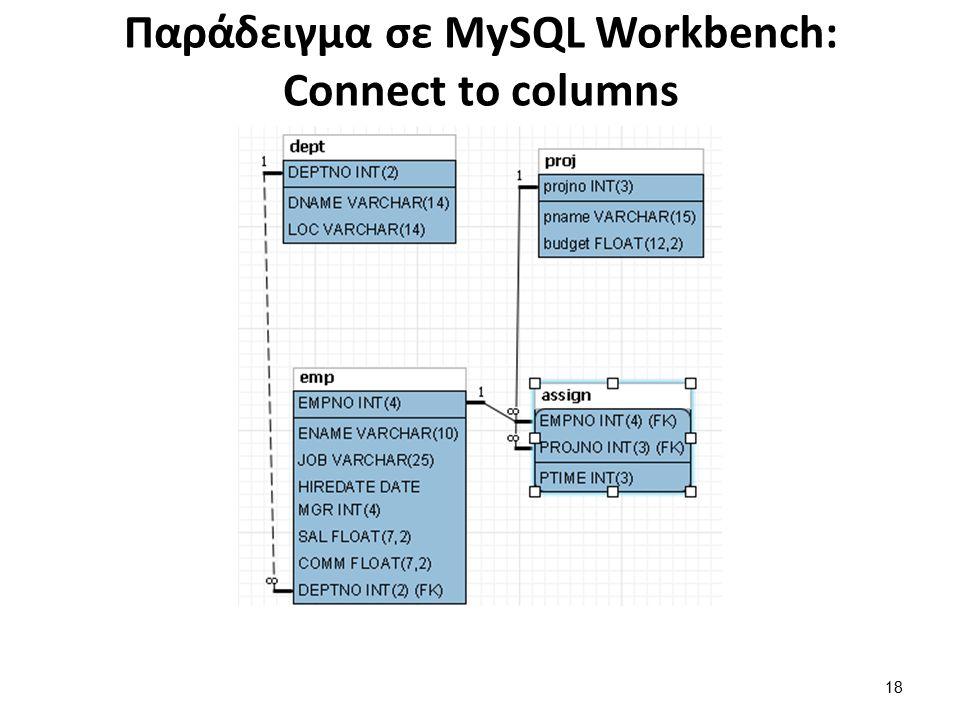 Παράδειγμα σε MySQL Workbench: Connect to columns 18