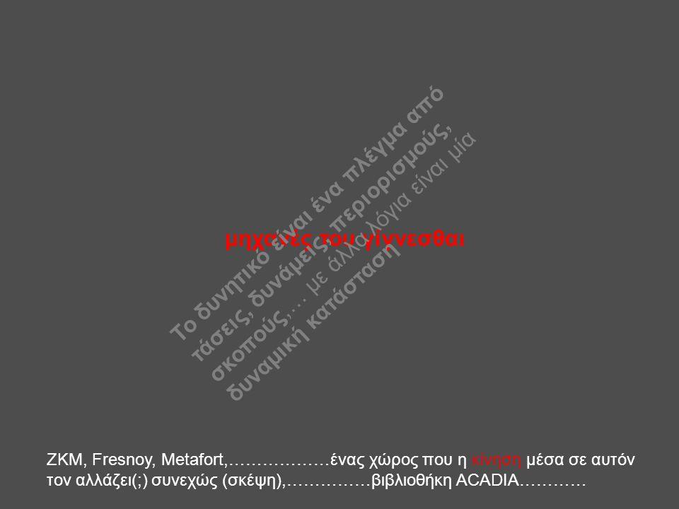 μηχανές του γίγνεσθαι ΖΚΜ, Fresnoy, Metafort,………………ένας χώρος που η κίνηση μέσα σε αυτόν τον αλλάζει(;) συνεχώς (σκέψη),……………βιβλιοθήκη ACADIA………… Το