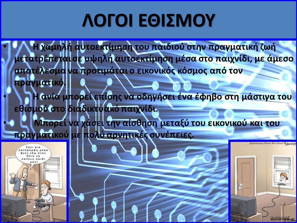 Διεξήγαμε μια έρευνα στην ευρύτερη περιοχή του Ευηνοχωρίου σχετικά με τους λόγους εθισμού στο Διαδίκτυο και τα α ηλεκτρονικά παιχνίδια.