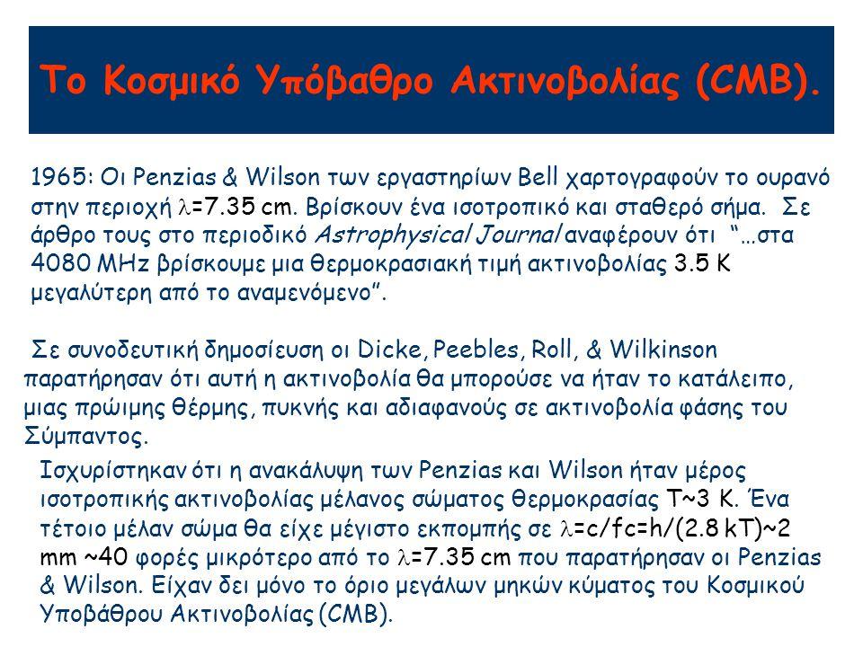 Το Κοσμικό Υπόβαθρο Ακτινοβολίας (CMB). 1965: Οι Penzias & Wilson των εργαστηρίων Bell χαρτογραφούν το ουρανό στην περιοχή =7.35 cm. Βρίσκουν ένα ισοτ