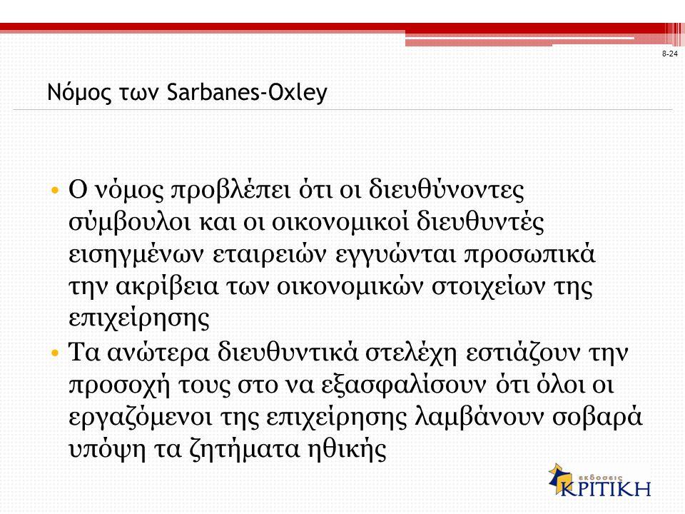Νόμος των Sarbanes-Oxley Ο νόμος προβλέπει ότι οι διευθύνοντες σύμβουλοι και οι οικονομικοί διευθυντές εισηγμένων εταιρειών εγγυώνται προσωπικά την ακ