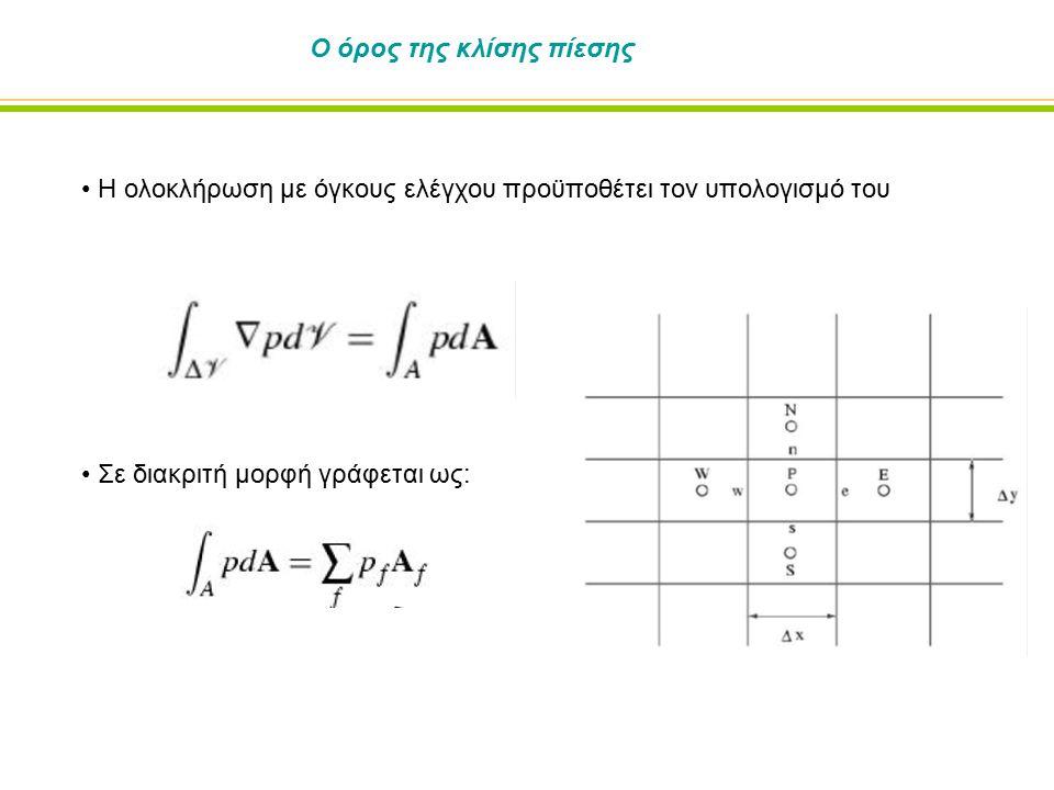 Ο όρος της κλίσης πίεσης Η ολοκλήρωση με όγκους ελέγχου προϋποθέτει τον υπολογισμό του Σε διακριτή μορφή γράφεται ως: